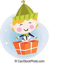 Small christmas elf with present - Cute christmas elf with...
