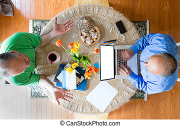 Two Businessmen at the Table in High Angle View