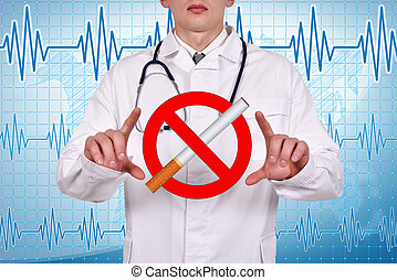 no smoking - doctor holding a no smoking symbol in hand