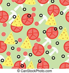 Seamless pattern for pizza toppings