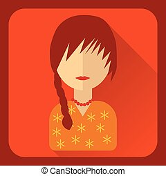 Flat avatar. Pigtailed girl in orange blouse, vector...