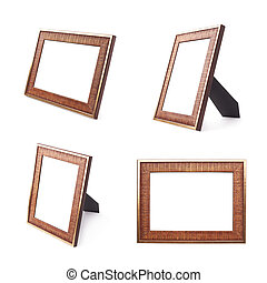 Wooden picture frame isolated - Wooden copyspace empty...