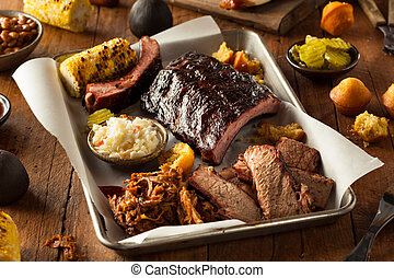 Barbecue Smoked Brisket and Ribs Platter with Pulled Pork...