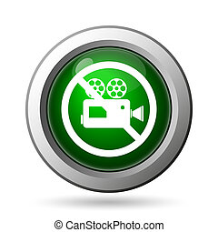 Forbidden video camera icon Internet button on white...