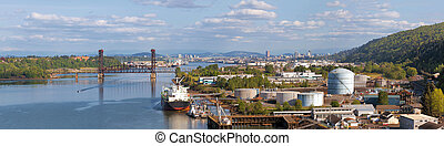Portland Shipyard Along Willamette River Panorama - Portland...