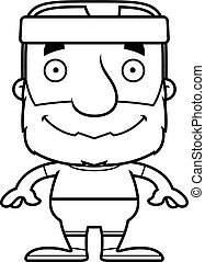 Cartoon Smiling Fitness Man - A cartoon fitness man smiling.
