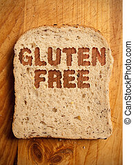 Gluten free text etched into a slice of bread