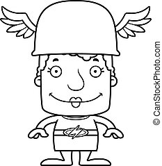 Cartoon Smiling Hermes Woman - A cartoon Hermes woman...