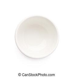 pequeño, blanco, cerámico, tazón, aislado,