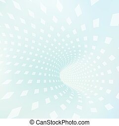 Illustration of abstract tunnel with squares.