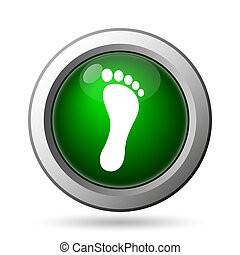 Foot print icon Internet button on white background