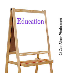 White board with the word written education