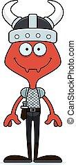 Cartoon Smiling Viking Ant