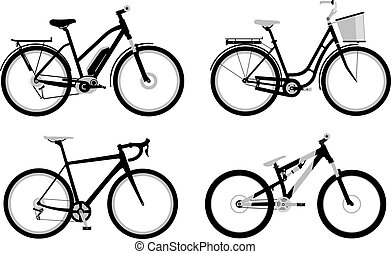 Bicycles - Set of various monochromic sport, city and...
