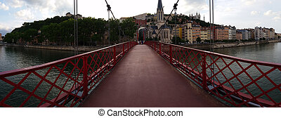 Lyon Fourviere Panoramic view from the Bridge - Panoramic...