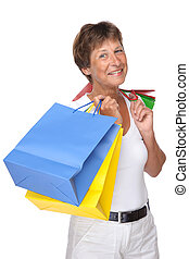 Shopping time - Full isolated portrait of a beautiful...