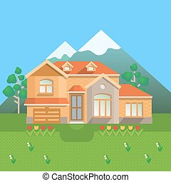 Country house in mountains. Vector