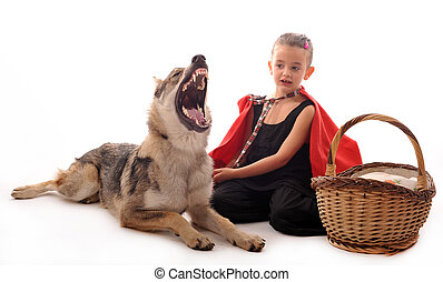 Little Red Riding Hood and angry wolf
