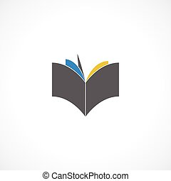 Book icon illustrated on the white background