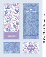 Vector soft purple flowers vertical frame pattern invitation...