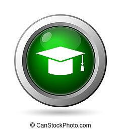 Graduation icon Internet button on white background