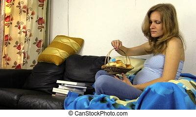 """pregnant woman eat bun - """"happy young pregnant woman eat..."""