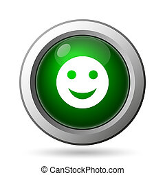 Smiley icon Internet button on white background