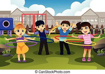 Children playing hula hoop in the park - A vector...