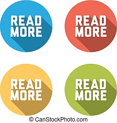 Collection of 4 isolated flat buttons for READ MORE - Set of...