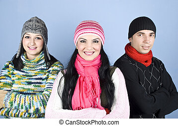 Happy friends people in winter season - Cheerful friends in...
