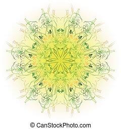Rosette flower ornament - Vector round rosette of ornamental...