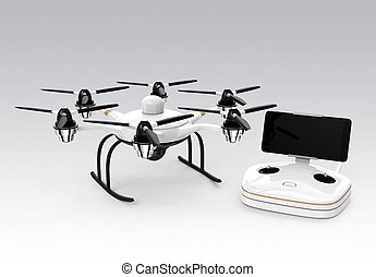 Hexacopter and remote controller isolated on gray background...