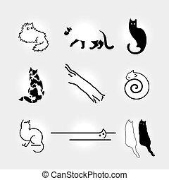 Set of stylized cats