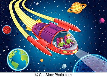 Teens Blasting Through Outer Space - Cartoon illustration of...
