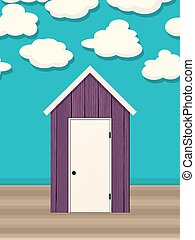 Beach hut vector - Beach hut, cabin, vector background