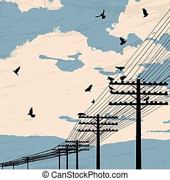 Birds and poles - Birds on wire, romantic background