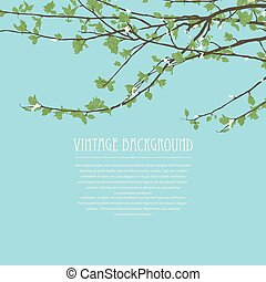 Blossoming tree brunch 4 - Spring background with blossoming...
