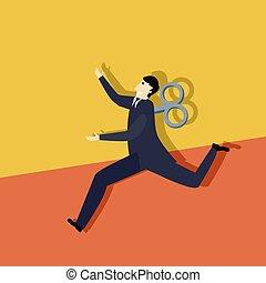 Business man clockwork run