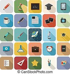 Education icon set - Set of education flat icon set with...