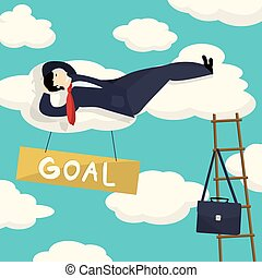 Goal achieved - Businessman resting after he had his goal...
