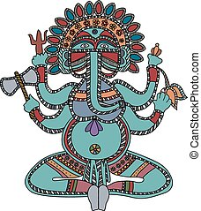 Lord Ganesha over white background