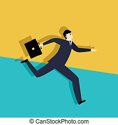 Running late business man, conceptual corporate graphic