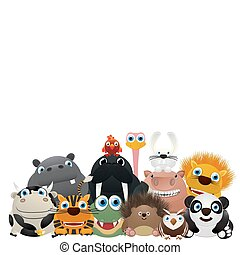 We are the ZOO - Zoo card, cute animal charactes over a...