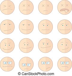 Emoticons smile vector illustration set of faces - Vector...