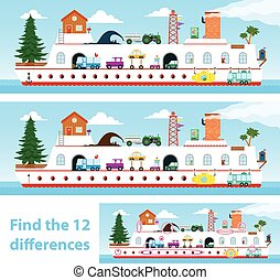 Kids puzzle ship to spot the 12 differences - Two vector...