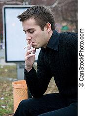 Smoking young man - Young smoker outdoors