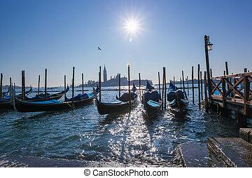 Venice with  gondolas at sunrise, Italy