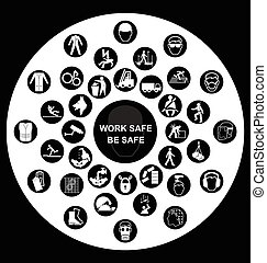 Circular Health and Safety Icons - Black and white...