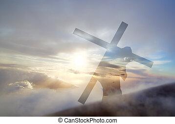 Cristo, Arriba, cruz,  calv,  Jesús, proceso de llevar