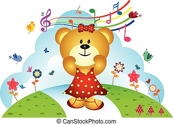 Little bear sing a song at the garden - full colour